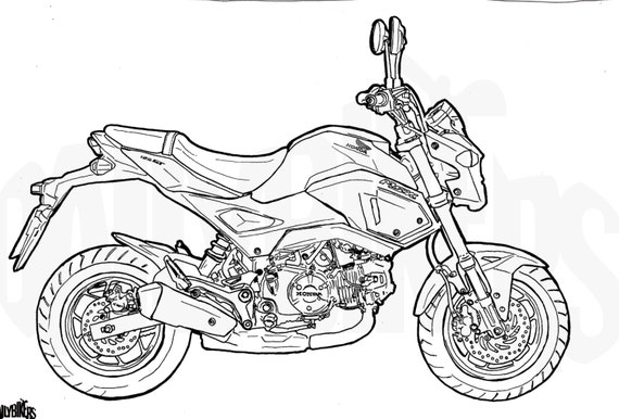 honda grom colouring page motorcycle illustration