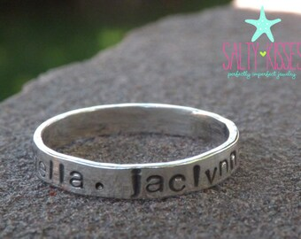 Personalized hand stamped stackable stacking rings sterling silver - anniversary - dates - birthday - promise ring jewelry