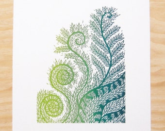 "Woodblock Print - ""Life's Design"" - Fiddlehead Fern - Plant Print - Wall Art"
