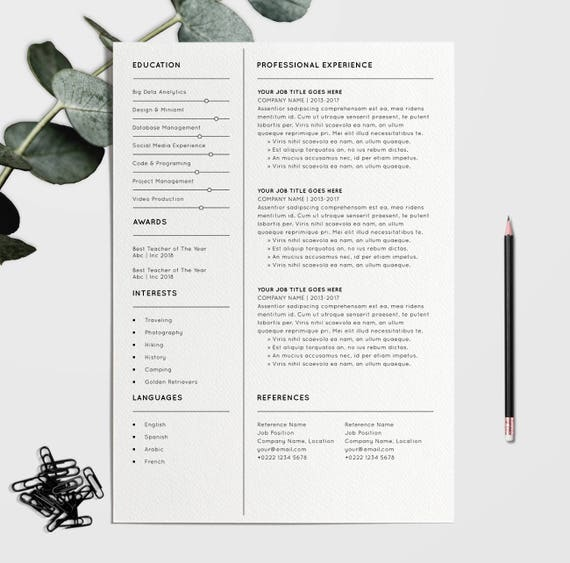 modern resume template for word 1 3 page resume cover page reference page a4 us letter modern cv template digital download - Reference Page Resume Template