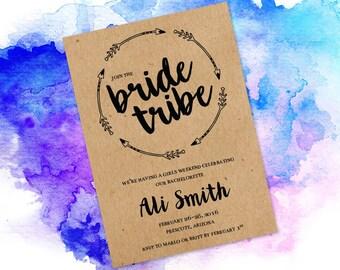 Bride Tribe bachelorette party Printable invitation - Boho Hens Night Party Invitation