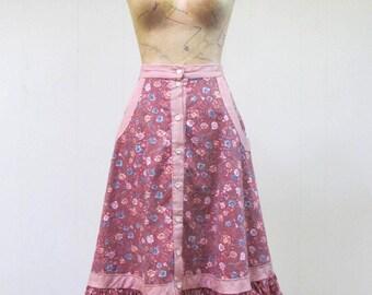 Vintage 1970s Skirt / 70s GUNNIES Cotton Calico Ruffled Boho Skirt / Small