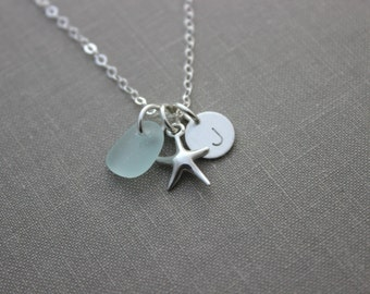 Sterling silver starfish necklace, with seafoam genuine sea glass and personalized sterling initial disc charm, Beach jewelry, seaglass