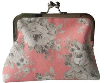 Handmade Pink Floral Rose Clutch Bag Gift for Her Makeup Bag Birthday Gift Best Friend Gift for Women Shoulder Bag Bridesmaid Handbag Purse
