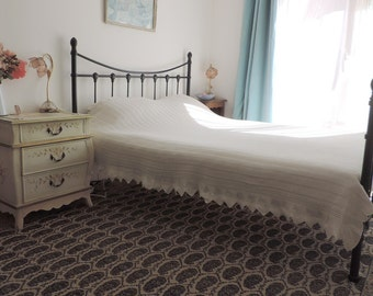 A vintage french, handmade crochet lace bedspread, cover, coverlet, blanket, in antique white cotton