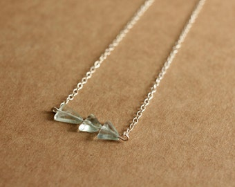 Mint Triangle Necklace Featuring Green Fluorite Beads on Sterling Silver Chain