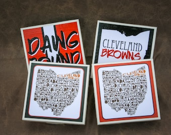 4 Cleveland Browns Coasters