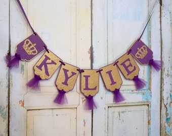 Girls Name Banner with Crowns, Embossed Purple and Gold Banner with Tulle Princess Birthday Decoration Royal Baby Shower Girl Nursery Banner