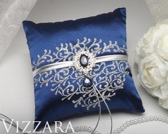 Ring Bearer Pillow Navy blue wedding Cheap ring bearer pillow Navy silver wedding Wedding ring bearer pillows Navy and gray wedding