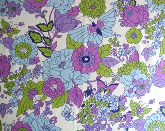 Vintage 60s Butterfly Flower Novelty Fabric Cotton Sateen Waverly Lime Green Radiant Orchid Floral Print Mid Century Dress Maker CBF