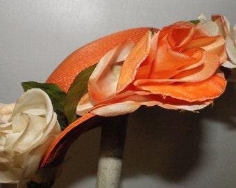 1950s Vintage Orange Straw Hat with Silk Flowers Pancake
