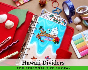 Personal Size Cute Kawaii Hawaii DIY Dividers 5 Top Tabs for Filofax Organizer Planner Printable PDF Instant Download
