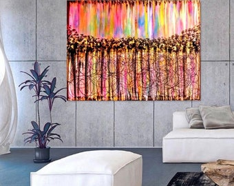 Large Abstract Painting Print On Canvas Modern Wall Art.
