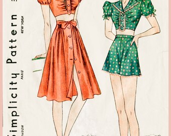 1930s 1940s vintage sewing pattern crop top puff blouse beach playsuit sun skirt high waisted shorts bust 32 b32 reproduction