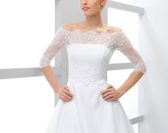 Bridal Lace Bolero Off-Shoulder / lace wedding jacket/ lace shrug/ bridal lace top