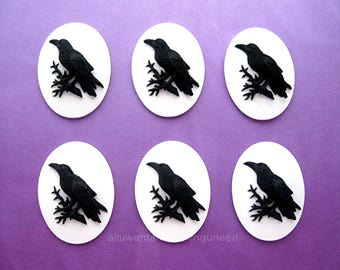 6 Gothic Black on Bright WHITE Crow Raven Blackbird Black Bird Witch Wiccan Voodoo Goth Emo 25mm x 18mm Resin CAMEOS LOT for Costume Jewelry