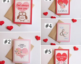 Valentine's Day Card Set of 5, Pink and Red, Small notecards, Blank notecards, Mixed variety Valentines, Love cards, 4-bar size notecards