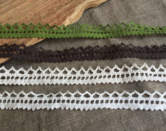 Linen lace edge trim 3 meters, zig zag lace for sewing scrapbooking decors crafting