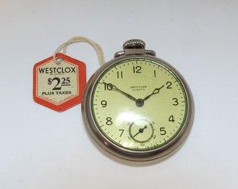 "Vintage Westclox ""Scotty""  Pocket Watch 1950s w/ Original Box, Guarantee and Price Tag"