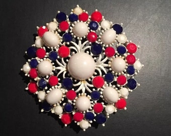 Weiss Red White & Blue Milk Glass Brooch