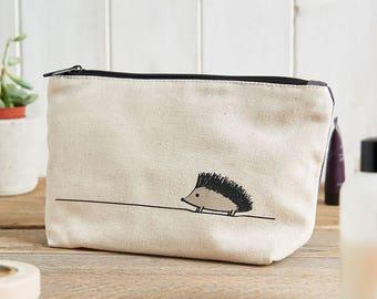 Hedgehog Zip Bag, Hedgehog Makeup Bag, Hedgehog Travel Bag, Hedgehog Pencil Case, Gift for Hedgehog Lovers, Hedgehog Lover Gifts