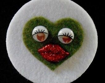 White/Green Sweet Heart Brooch  (Funky Felt Flowers)