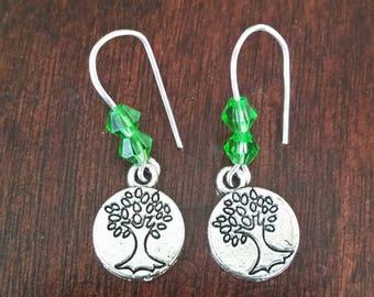 Green earrings, Crystal earrings, Tree of life earrings, Tree earrings, Women's earrings, Gifts for her, Gifts under 20