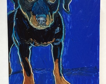 Rottweiler on Blue Original Oil Painting Daily Painting
