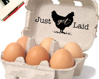 Chicken Egg Carton Label - Custom Egg Carton Stamp - Just Got Laid Stamp - Unique Gift For Chicken Lady - Farmhouse Homestead Decor Farmer