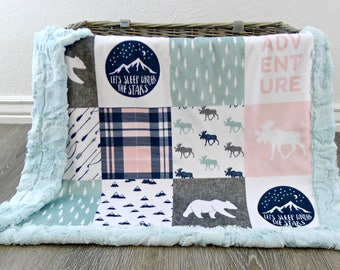 Baby Blanket - Faux Patchwork Baby Quilt - Moose Baby Blanket - Bear Baby Blanket - Plaid Baby Blanket - Mountains Baby - Baby Blanket Girl