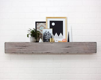 Floating Shelf Mantle - Barn Wood Style Beam - Smoke & Ash
