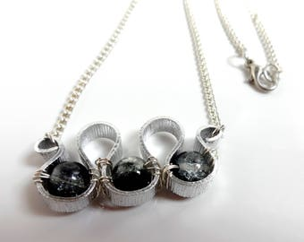 Necklace chain and spiral-black grey - hand made