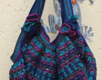 Womens tote bag , Oversized bag , Large Crocheted bag , Over the shoulder bag , Diaper bag , Hold all bag , Hippie chic bag.