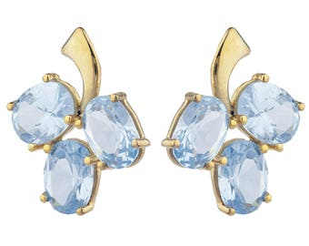 14Kt Yellow Gold Plated Aquamarine Oval Shape Design Stud Earrings