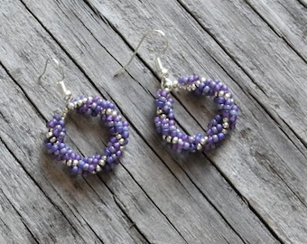 Beaded Statement Earrings - Bead Weaving Jewelry - Beaded Round Dangles - BOHO