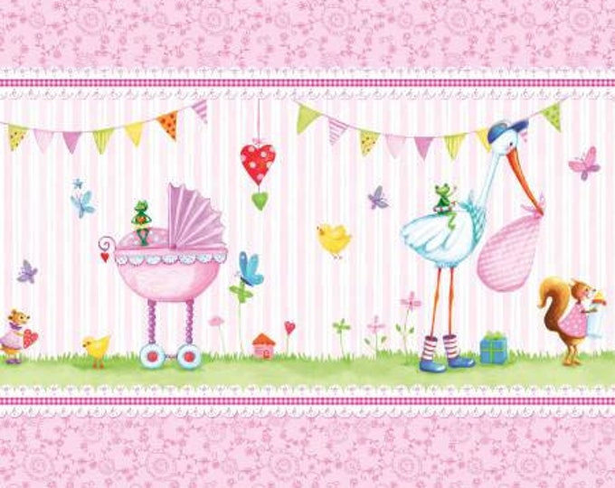 Children's Fabric, A Bundle of Joy Pink Multi Border Stripe Cotton Fabric by Red Rooster