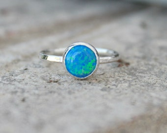 Opal Stacking ring ~ 8mm Opal ring - STERLING SILVER Opal RING - Gemstone Ring -Green opal -pink opal -colorful opal -stacking gemstone ring