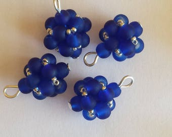 4 beads 4mm frosted blue glass pendants