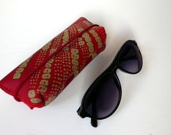 Leather glasses case (red leather with green print)