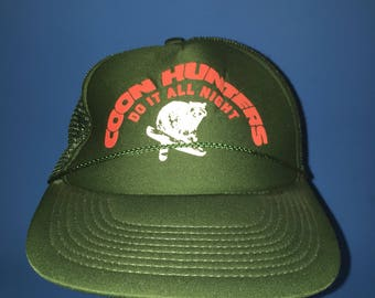 Vintage raccoon hunters trucker snapback hat 1980s
