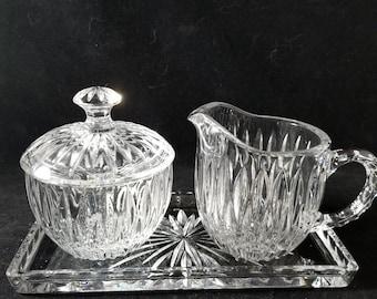 Vintage 3-Piece Pressed Glass Sugar, Creamer, and Tray set