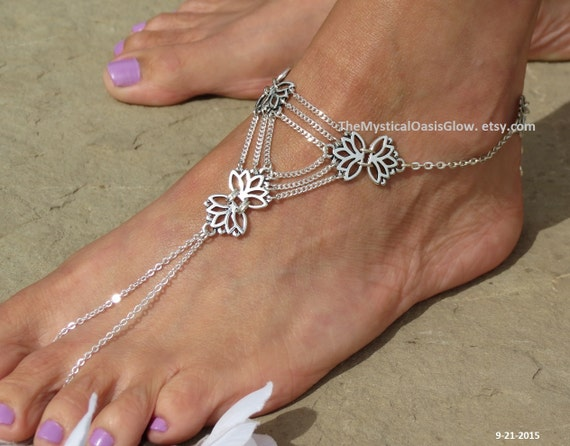 triangular LotusTriangle geometry Sandals jewelry Barefoot Lotus foot sacred flower jewelry geometry anklet feet for slave Triangle ppOwqr8