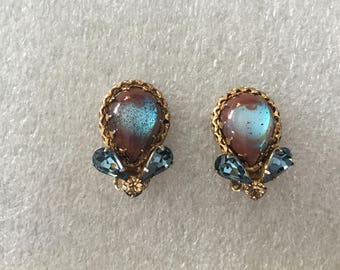 Vintage Saphiret with Light Blue and Light Colorado Topaz Rhinestone Earrings 1506