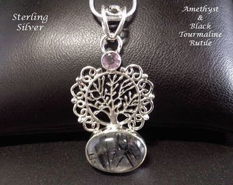 Tree of Life Necklace: Black Tourmaline and Amethyst Gems in Ornate 925 Sterling Silver | Celtic, Gifts for Women, Silver Pendant 046