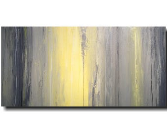 Abstract painting, large acrylic wall art, living room decor, dining room wall art , gray, yellow,  JMJArtstudio, mothers day gift,