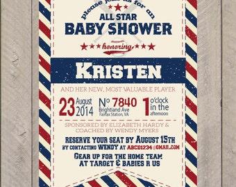 Baseball Baby Shower Invitation, Baseball Birthday Invite, Baseball Party Invitation- Baby Boy Shower- Sports Theme Party Invite