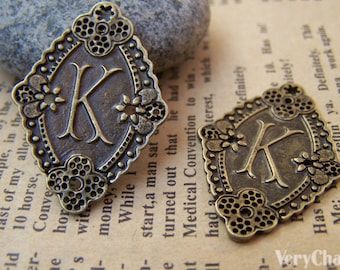 10 pcs Antique Bronze Letter K Oval Connector Charms Double Sided 22x32mm A1986