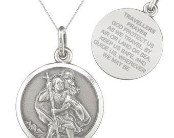 St Christopher Travellers Prayer Sterling Silver Necklace/Pendant
