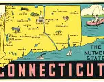 Vintage Style Connecticut state map  Travel Decal sticker
