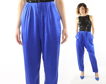 Vintage 80s High Waisted Silk Pants Bright Blue Pleated Trousers Tapered Legs 1980s Dana Buchman Medium M